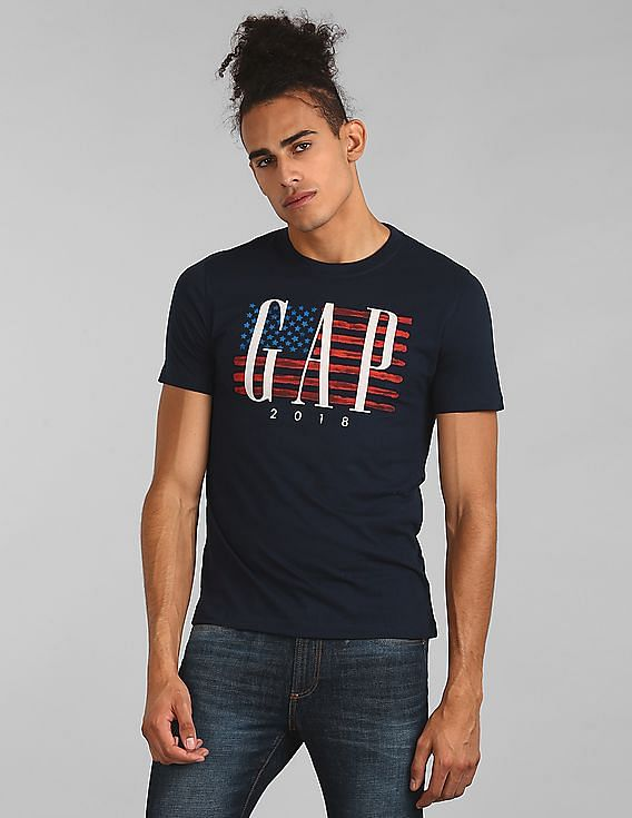 7e19d17d84b Buy Men Logo Flag Print Short Sleeve T-Shirt online at NNNOW.com