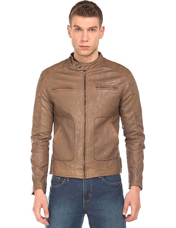 d680ac71bb1b Buy Men Textured Faux Leather Biker Jacket online at NNNOW.com