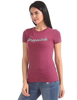 Aeropostale Textured Front Short Sleeve T-Shirt