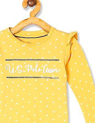 U.S. Polo Assn. Kids Yellow Girls Ruffle Shoulder Printed Top