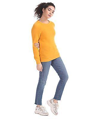 Aeropostale Yellow Crew Neck Patterned Knit Sweater