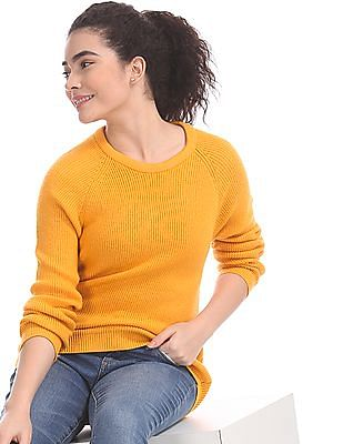 Aeropostale Yellow Crew Neck Patterned Knit Sweater