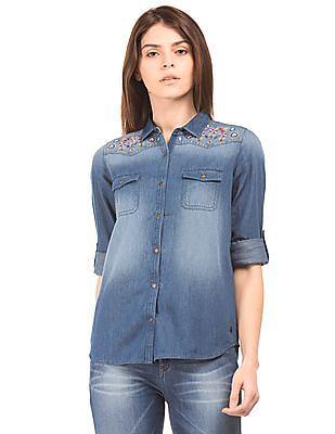 U.S. Polo Assn. Women Embroidered Denim Shirt