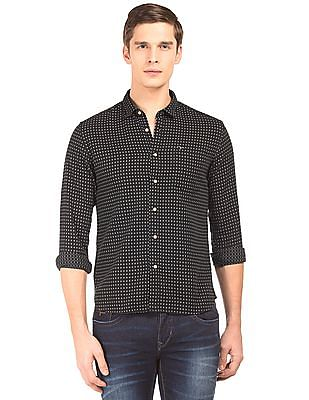 Flying Machine Slim Fit Patterned Weave Shirt