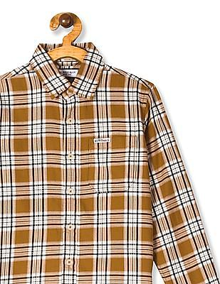 U.S. Polo Assn. Kids Brown Boys Spread Collar Check Shirt