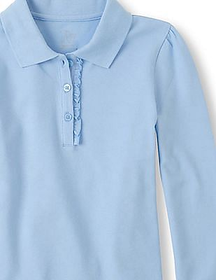 The Children's Place Girls Blue Long Sleeve Ruffle-Placket Polo