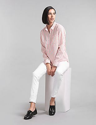 GAP Women White Stripe Popover Shirt
