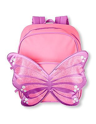 The Children's Place Girls Pink Glitter Butterfly Backpack