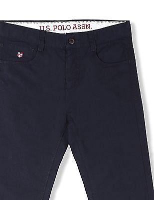 U.S. Polo Assn. Kids Boys Solid Cotton Trousers