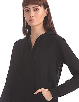 Flying Machine Women Black Solid Zip-Up Sweatshirt