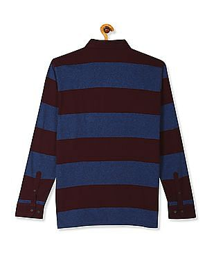 U.S. Polo Assn. Maroon And Dark Blue Long Sleeve Striped Polo Shirt