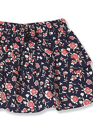 Donuts Blue Girls Floral Print Layered Skirt