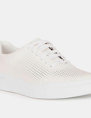 Cole Haan Men White GrandPrø Rally Laser Cut Sneakers