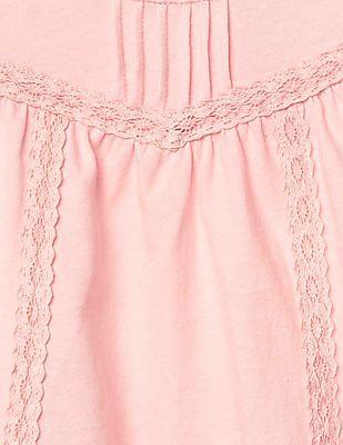 GAP Baby Pink Lace Trim Flutter Top