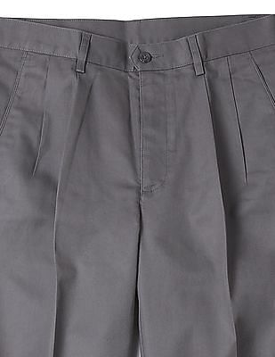 Arrow Solid Pleated Front Trousers
