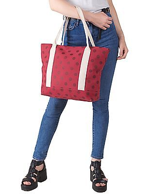 SUGR Polka Dot Canvas Tote Bag