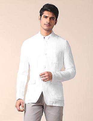 True Blue Slim Fit Linen Bandhgala