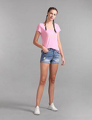 GAP Pink Logo Print Short Sleeve T-Shirt