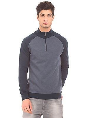 Ruggers Zipper Placket Raglan Sleeve Sweater