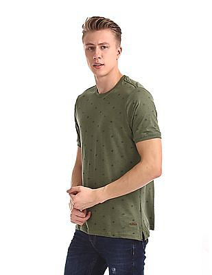 Cherokee Green Printed Slim Fit T-Shirt