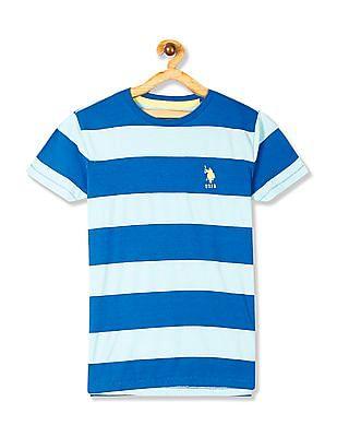 U.S. Polo Assn. Kids Sea Green And Blue Boys Crew Neck Striped T-Shirt