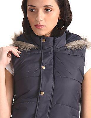Cherokee Blue Hooded Gilet Jacket