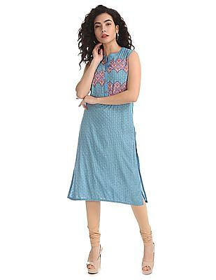 Karigari Blue Printed Sleeveless Kurta