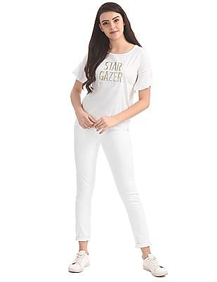 SUGR Round Neck Embroidered Top