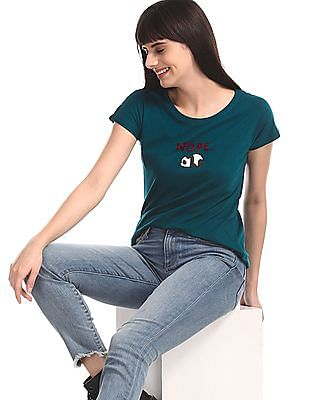 SUGR Green Round Neck Panda Graphic T-Shirt