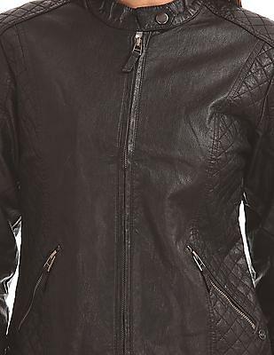 U.S. Polo Assn. Women Quilted Panel Biker Jacket