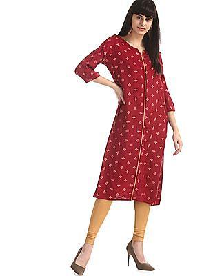 Anahi Red Printed Kurta With Cropped Jacket
