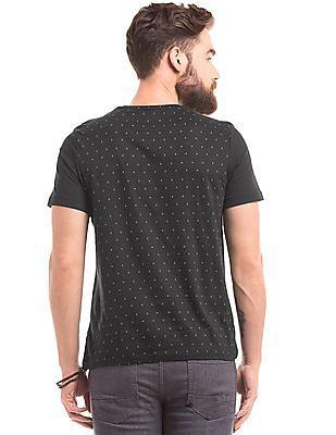 True Blue Devanagari Print Slim Fit T-Shirt