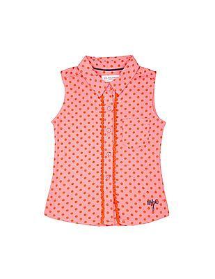 U.S. Polo Assn. Kids Girls Polka Print Sleeveless Shirt