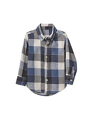 GAP Baby Plaid Double Weave Convertible Shirt