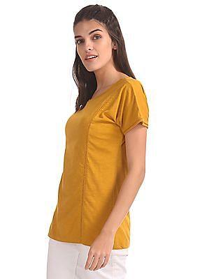 U.S. Polo Assn. Women Lace Trim Regular Fit T-Shirt