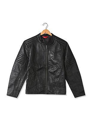 Izod Slim Fit Panelled Biker Jacket
