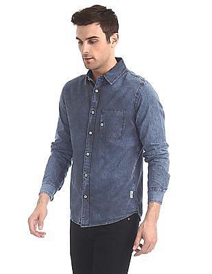 Cherokee Indigo Spread Collar Vertical Stripe Shirt