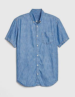 GAP Blue Wearlight Denim Short Sleeve Shirt