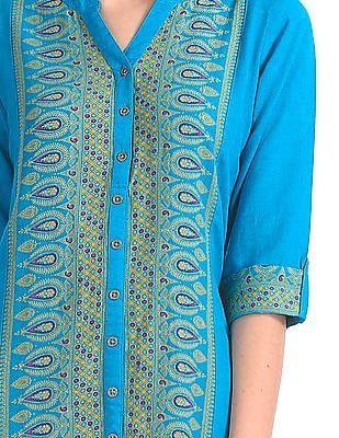 Anahi Printed Mandarin Collar Kurta