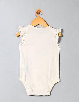 GAP Baby White Happy Family Flutter Bodysuit