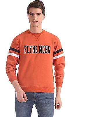 Flying Machine Orange Crew Neck Brand Applique Sweatshirt
