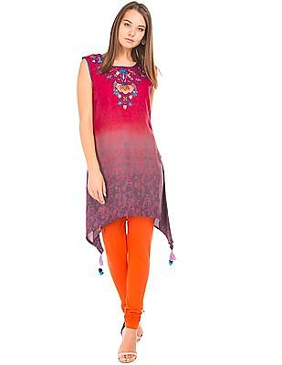 Bronz Ombre Print Embroidered Tunic