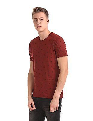Cherokee Red Printed Vented Hem T-Shirt