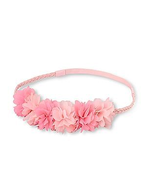 The Children's Place Toddler Girl Pink 3D Flower Crown Faux-Suede Braided Headwrap