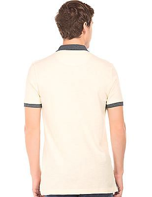 Flying Machine Contrast Collar Pique Polo Shirt