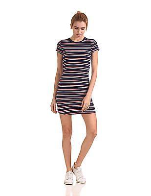 Flying Machine Women Striped T-Shirt Dress