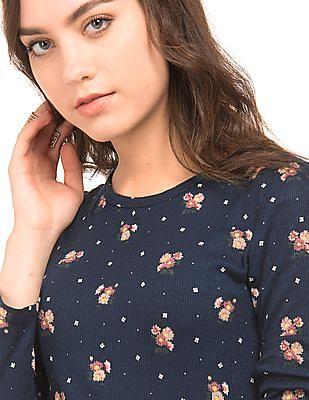 Aeropostale Floral Print Ribbed T-Shirt
