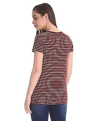 SUGR Mock Placket Striped T-Shirt