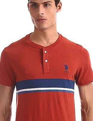 U.S. Polo Assn. Red Striped Cotton Henley T-Shirt
