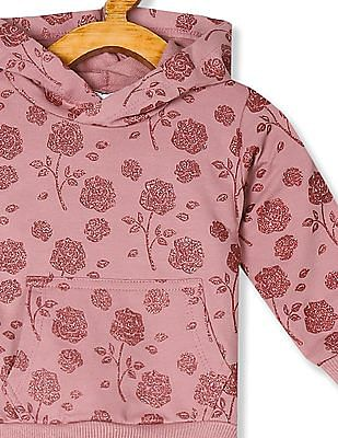 Donuts Pink Girls Glitter Printed Hooded Sweatshirt